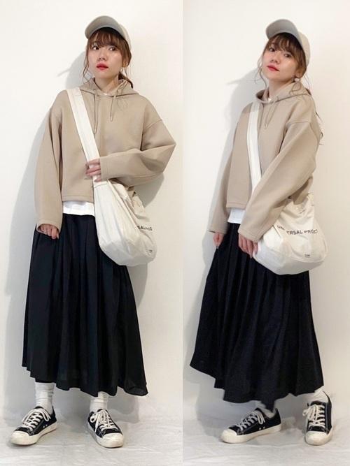 【無印良品】疲れにくい 撥水スニーカー×プリーツスカート low-price-sneakers-style-muji-skirt