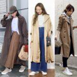 トレンチコート スニーカー コーディネート レディース おすすめ trench coat sneakers outfit women featured image