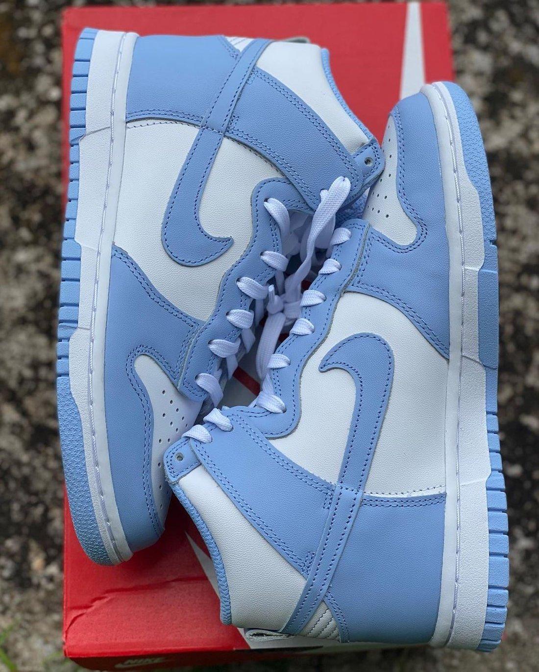 """ナイキ ダンク ハイ """"ユニバーシティブルー"""" Nike-Dunk-High-University-Blue-first-look-pair detail"""