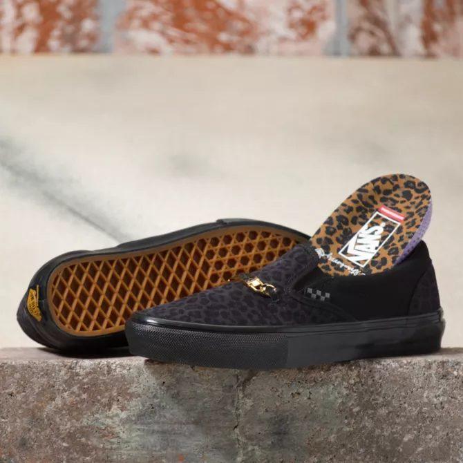 シェール ストロベリー × ヴァンズ スケート スリッポン cher-strauberry-vans-skate-slip-on-cheetah-VN0A5FCA9CY-pair