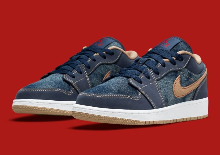 """9月7日海外発売【Nike Air Jordan 1 Low """"Denim""""】GSサイズ展開あり"""