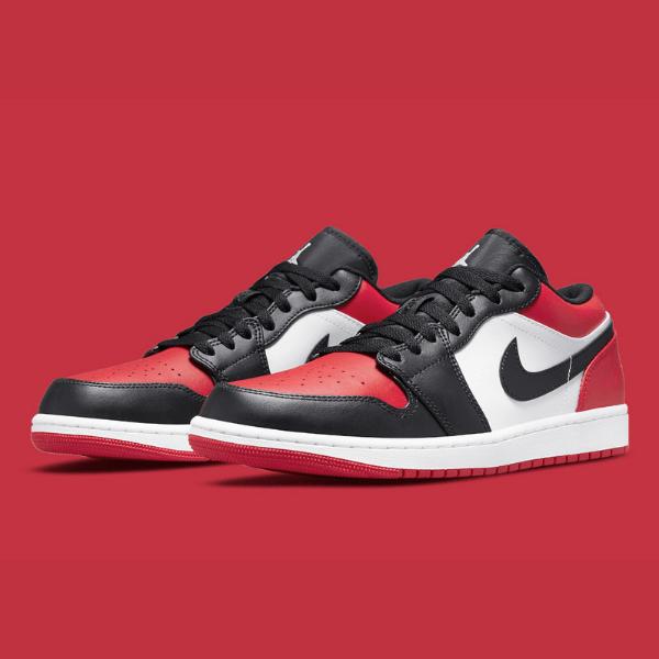 """2021年発売【Nike Air Jordan 1 Low """"Bred Toe""""】つま黒でシカゴカラーなジョーダンローがスタンバイ!"""