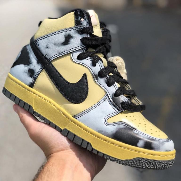 """Nike Dunk High """"Black Acid Wash"""" DD9404-100 detail"""