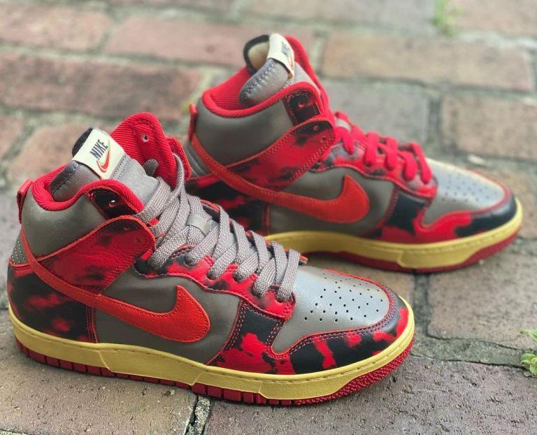"Nike Dunk High ""Red Acid Wash"" DD9404-600 detail ナイキ ダンク ハイ レッドアシッド"