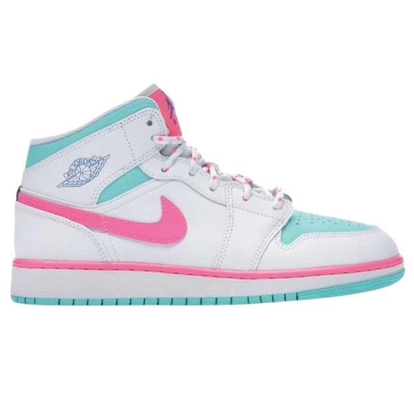 Air Jordan 1 Mid White Pink Green Soar (GS)