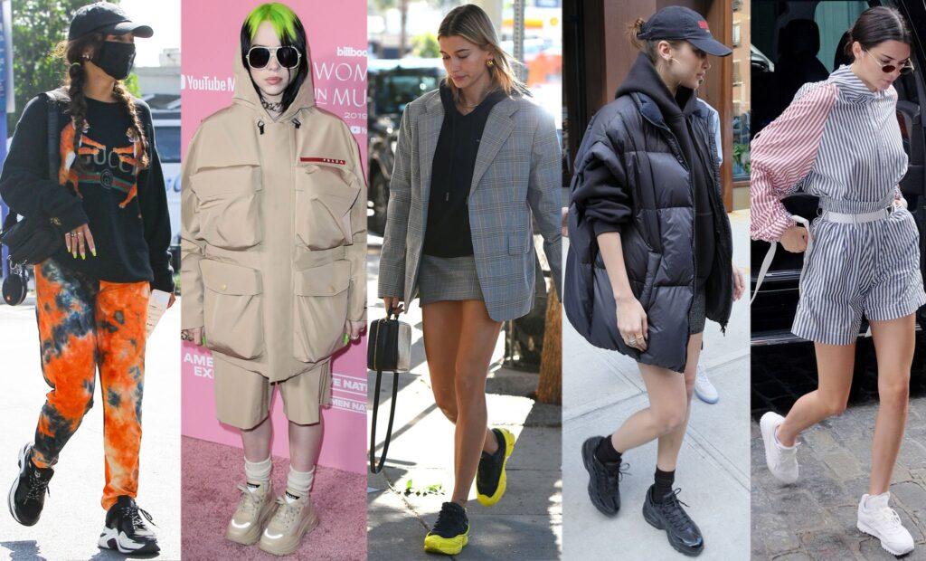 2021年 セレブ 厚底 スニーカー チャンキーソール celebrities-wearing-chunky-sneakers-trend-2021