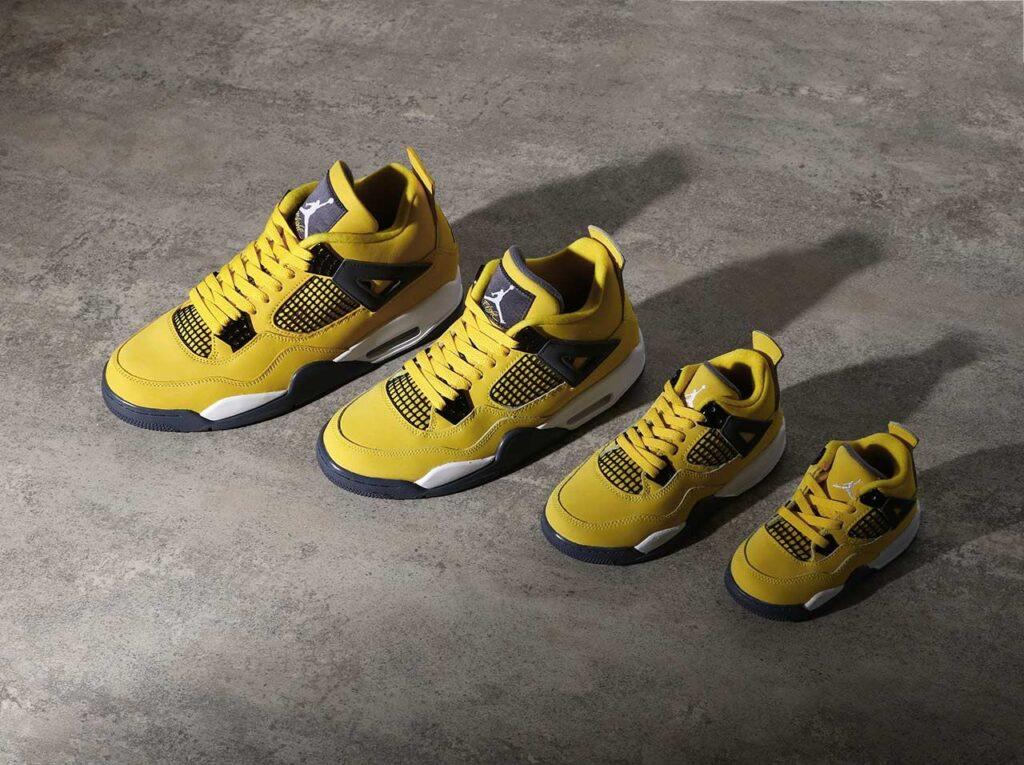 """8月28日,9月2日発売【Nike Air Jordan 4 Retro """"Tour Yellow""""】ファミリーサイズ展開"""