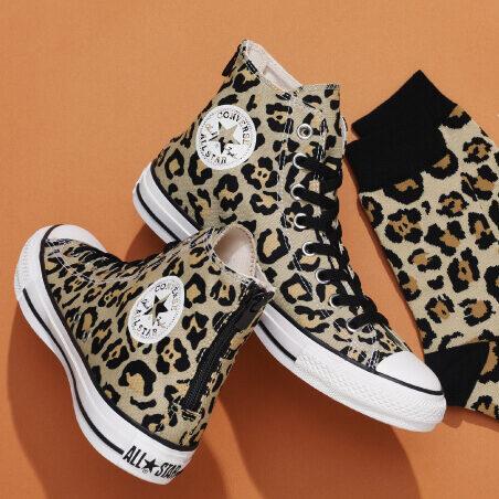 発売中【Converse ALL STAR RH Z HI & CV Socks】靴下付きのヒョウ柄スニーカー2021年新作モデル!