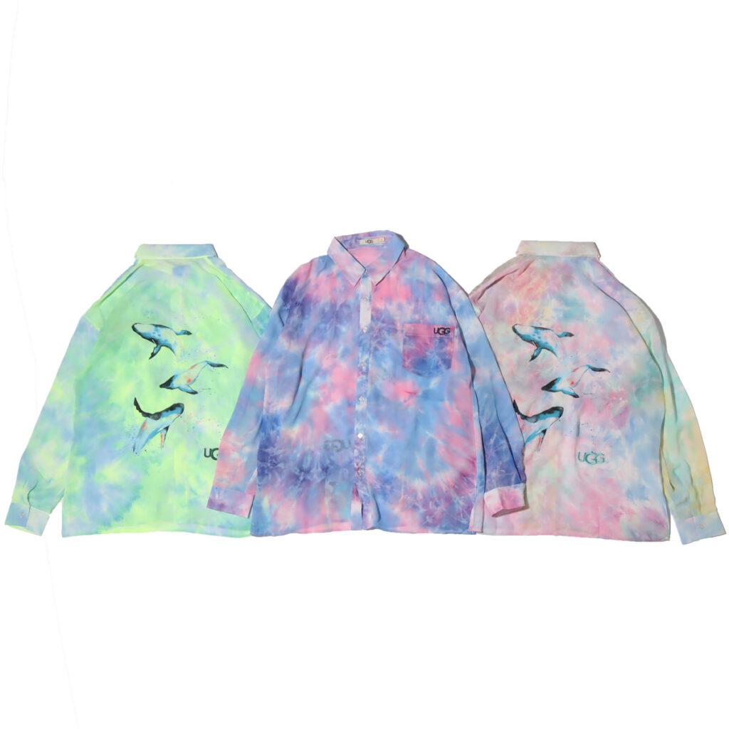 UGG×伊東楓 グラフィックタイダイシースルーシャツ kaede-ito-ugg-atmos-room-wear-collaboration-tie-dye-shirt