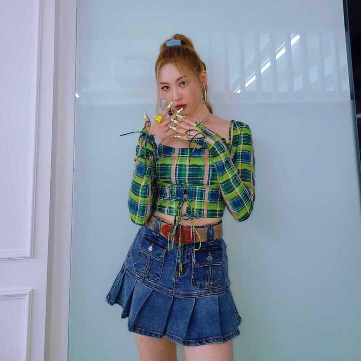 ソンミ プリーツスカート デニム sunmi wonder girls pleated skirt image