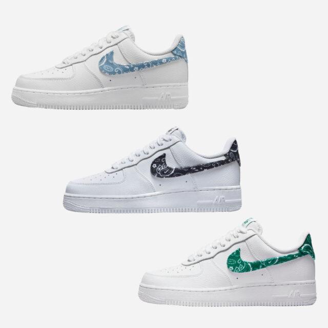 ナイキ エアフォース 1 ホワイト ペイズリー ブルー グリーン ブラック Nike-Air-Force-1-White-Paisley-3-colors